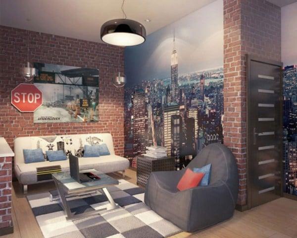 Industrial Modern Teen Bedroom and Hangout Space