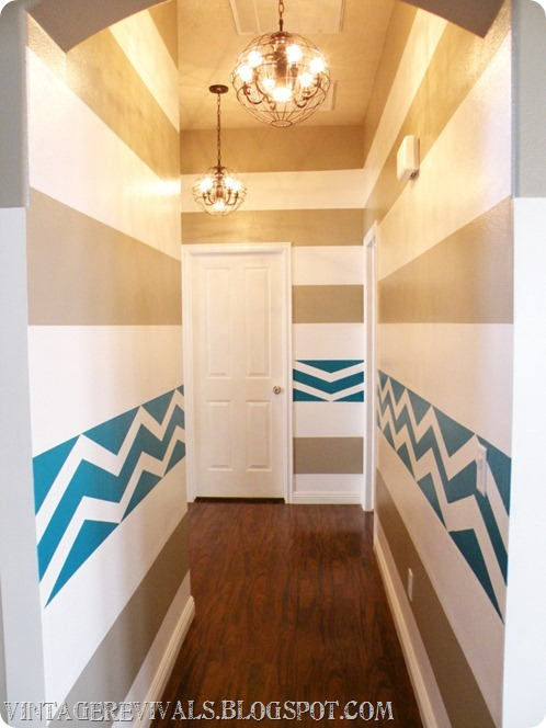 Painted Stripes and Chevron Hallway