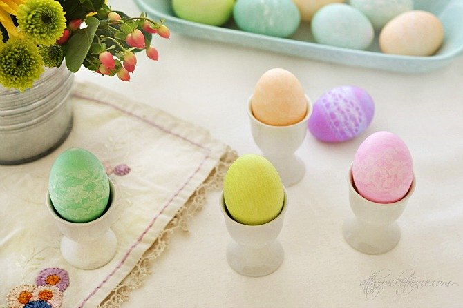 Lace Dyed Easter Eggs