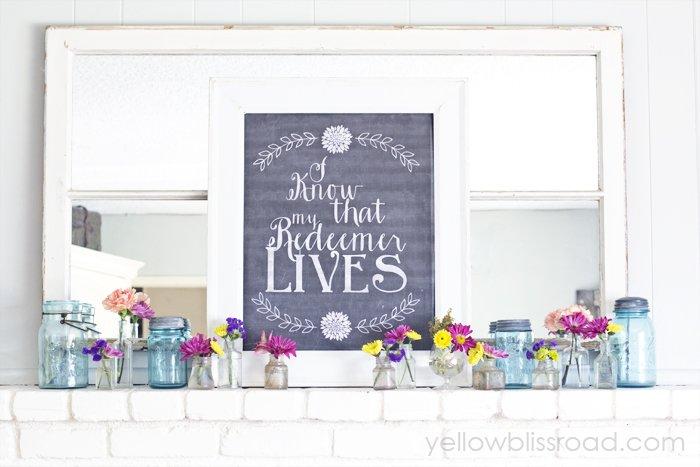 Colorful  Mantel and Chalkboard Printable