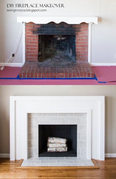 Remodelaholic 25 best diy fireplace makeovers - Covering brick fireplace with tile ...