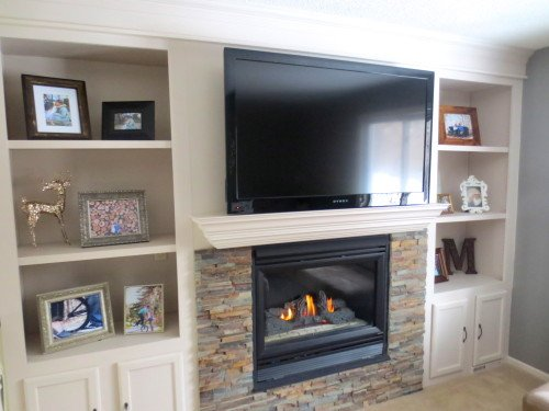 Stone Fireplace with Built-In Shelves