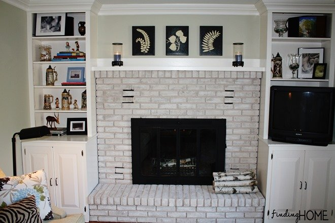 Remodelaholic Best DIY Fireplace Makeovers - Brick fireplace makeover