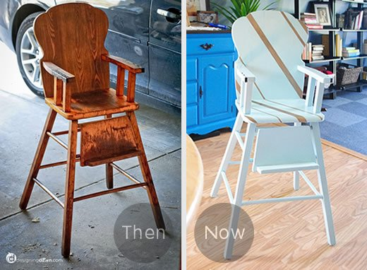 Striped Wooden High Chair