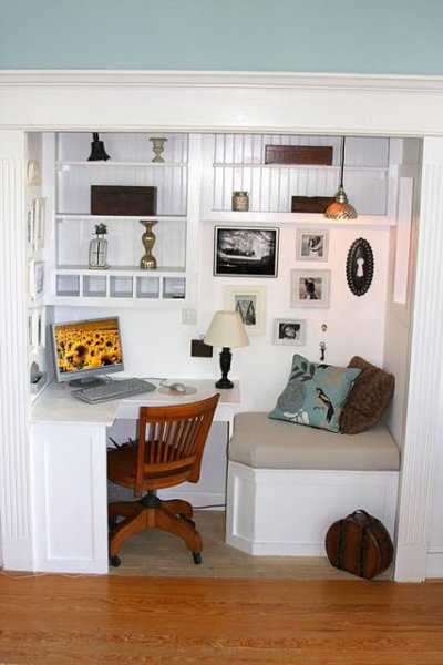 office in closet bedroom office with reading nook remodelaholic 25 clever closet offices