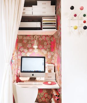 Pink Wallpapered Office