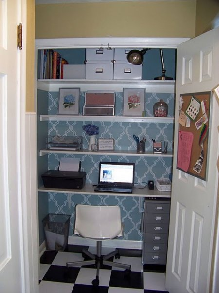 Stenciled and Checkered Computer Office