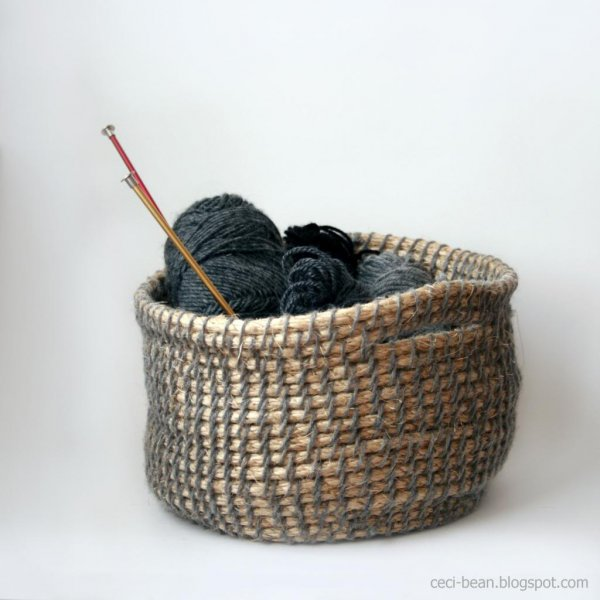 Woven Yarn Basket : Remodelaholic diy hardware store decor projects