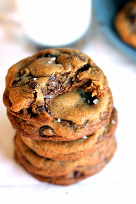 Nutella Stuffed Brown Butter and Sea Salt Chocolate Chip Cookies