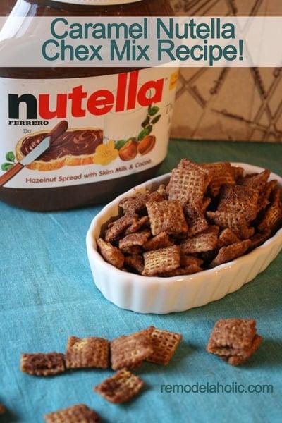 Caramel Nutella Muddy Buddies Chex Mix