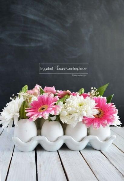 DIY Eggshell & Flower Centerpiece