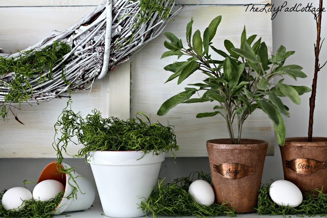 Green and White Spring Mantel