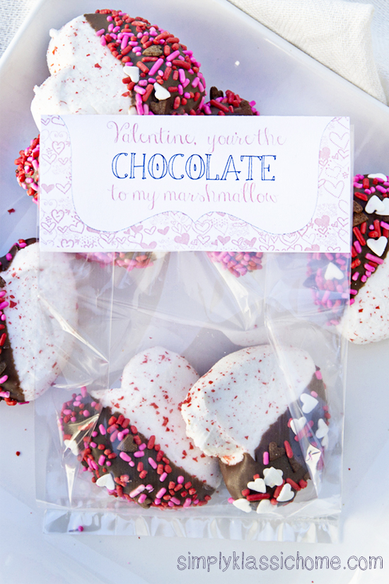 Chocolate Covered Peeps Hearts with free Printable Treat Tag
