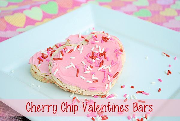 Cherry Chip Valentine's Cookie Bars
