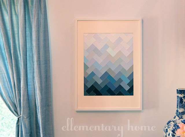 Ombre Herringbone Paint Chip Art