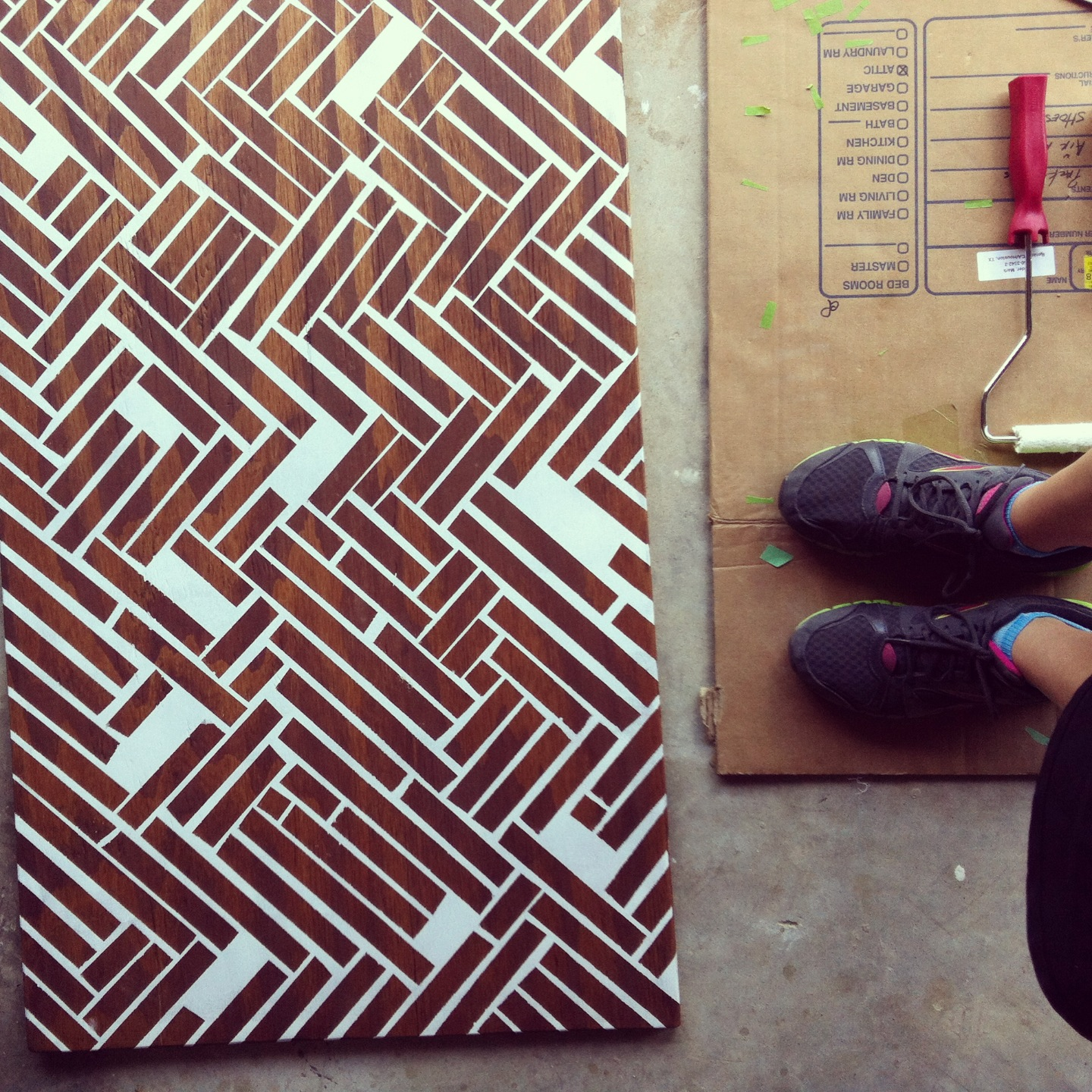 Stained Wood Herringbone Wall Art
