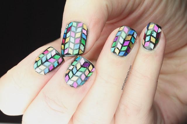 Glitter Herringbone Nails