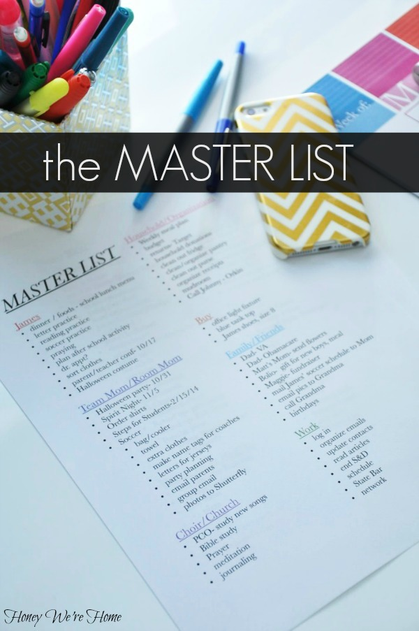 The Master List to Keep You Sane