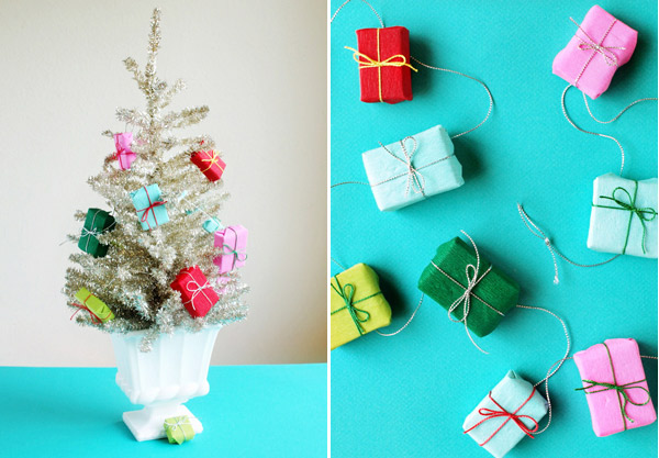 Mini Wrapped Present Garland made out of paper featured on Remodelaholic.com