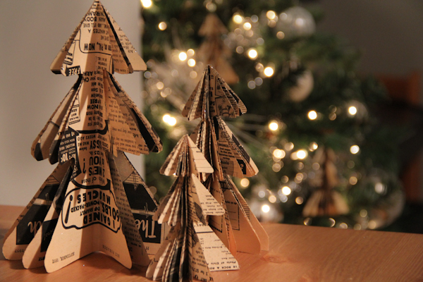 Christmas Tree Book Sculptures featured on Remodelaholic.com. Make your own Easy Paper Christmas Decorations too.