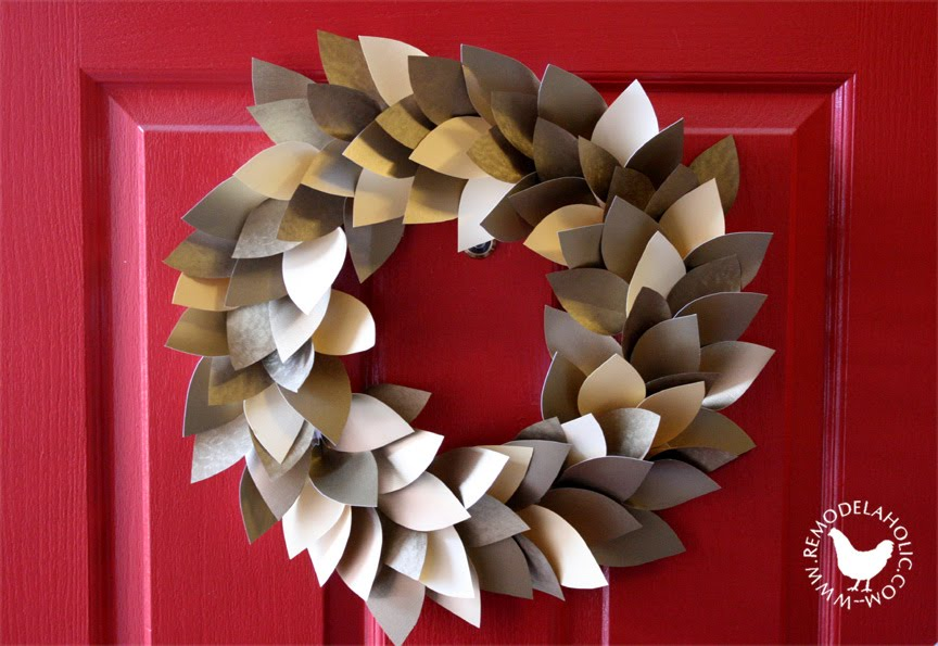Paper Leaf Holiday Wreath, an easy Christmas decoration created by Remodelaholic.com