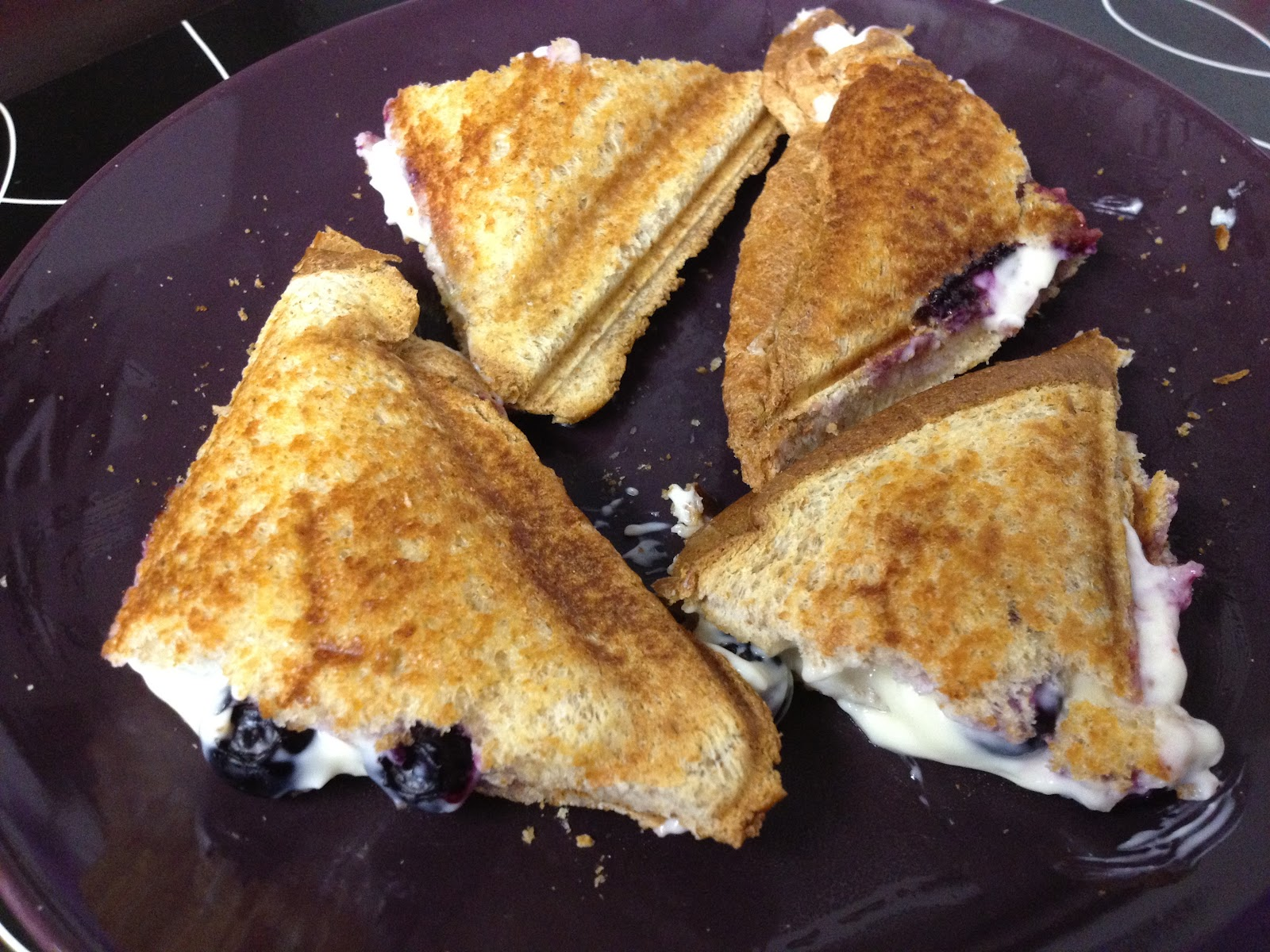 Blueberry breakfast grilled cheese sandwich