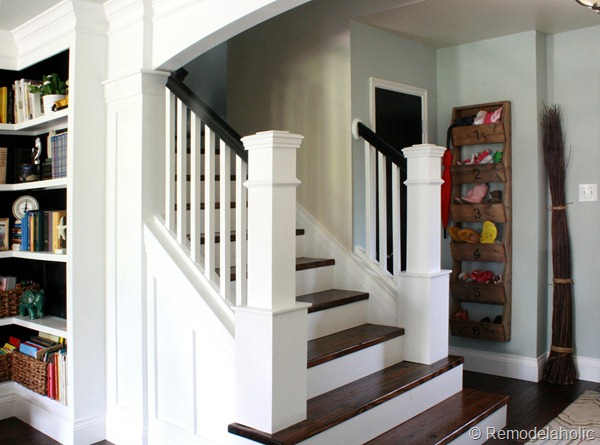 Entryway staircase total makeover for Diy staircase makeover