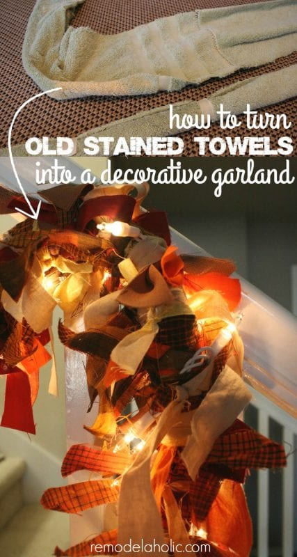 Easy and FREE decorating! Use old towels as the base for this easy garland, made from things you probably have around your house already. @remodelaholic