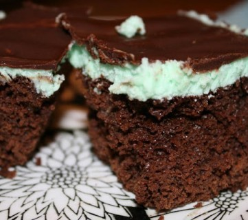 Less guilt Brownies with Mint Frosting!