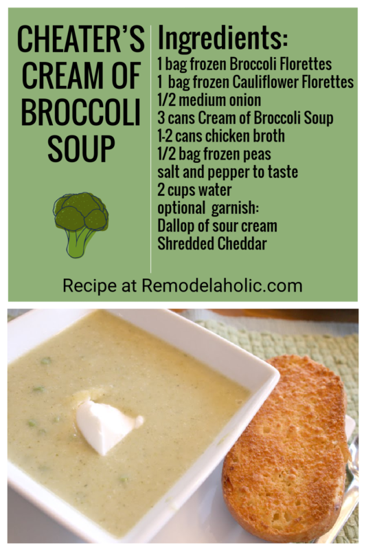 Cheater's Cream Of Broccoli Soup Recipe Via Remodelaholic.com