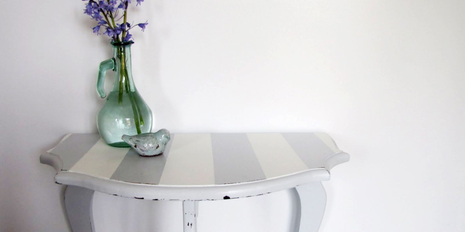 Striped Half-Moon Table