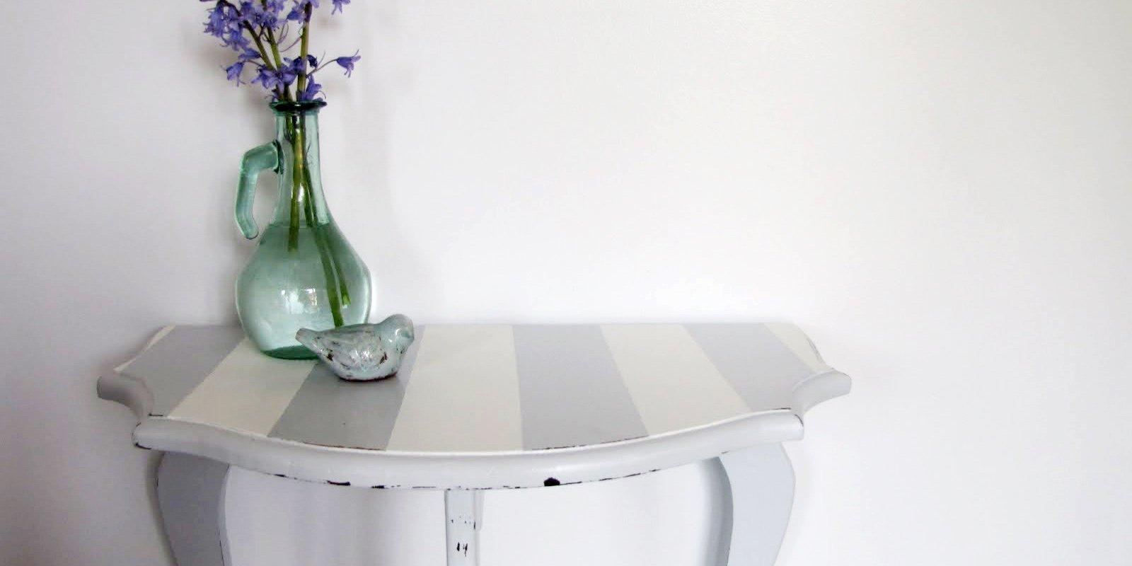 Striped Half-Moon Table