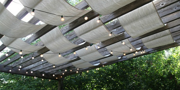 drop cloth sail pergola update