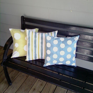 spray painted porch pillows
