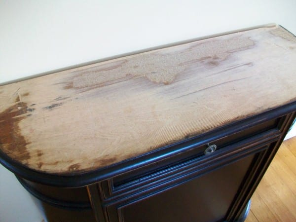 2 How To Update Blemished Old Furniture Using Paint And Gift Wrap, By The Painted Hive Featured On @Remodelaholic