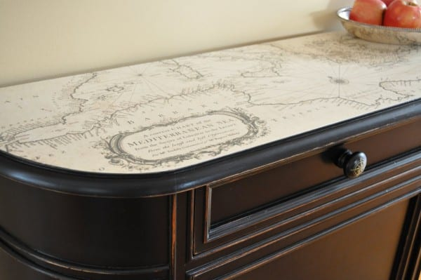 3 How To Adhere A Vintage Map To The Top Of A Stand Alone Cabinet, By The Painted Hive Featured On @Remodelaholic