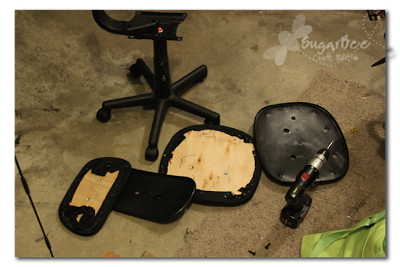 HOw to reuphoster and office chair before and after (2)