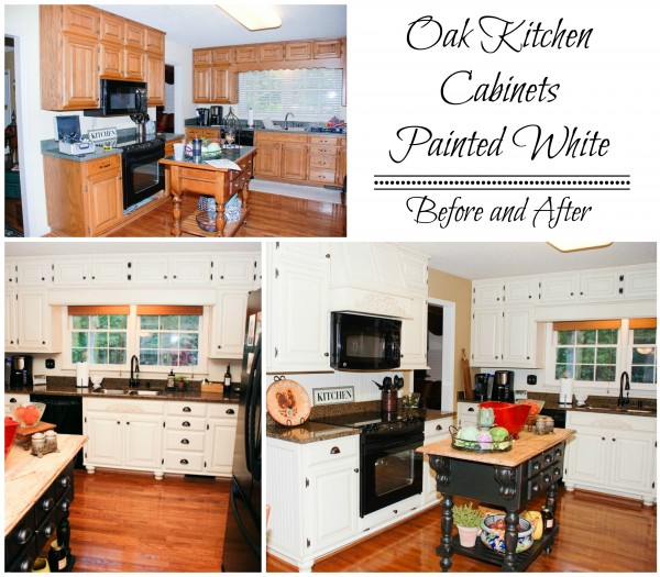 kitchen cabinets painted white before and afterRemodelaholic  From Oak Kitchen Cabinets to Painted White Cabinets