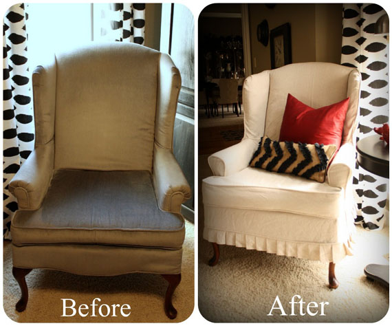 Remodelaholic Reupholstered Arm Chair Before And After