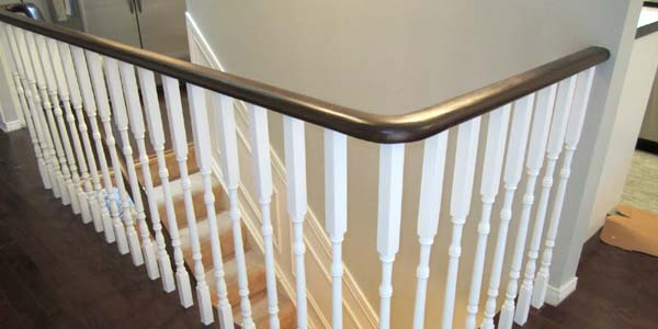 Updating an Oak Stair or Handrail to White and Walnut