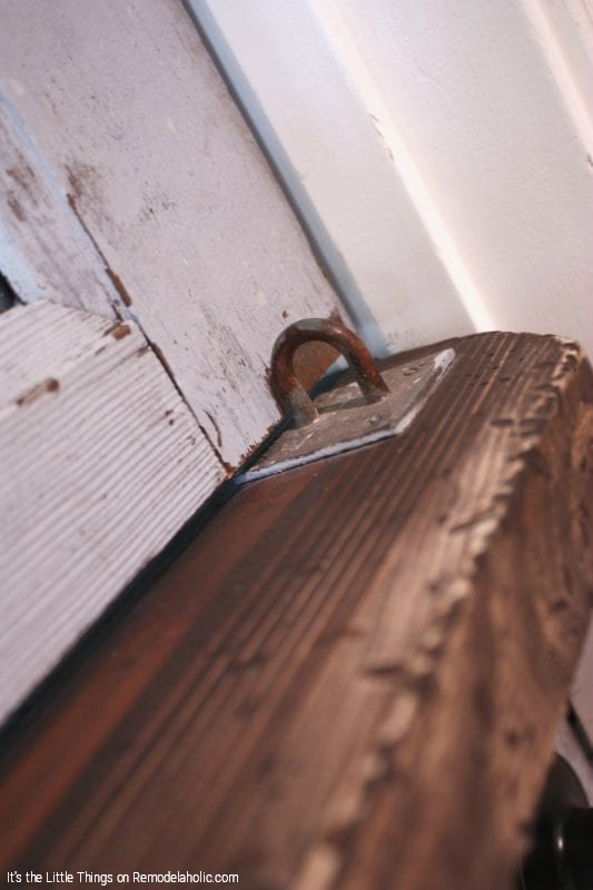Rustic Hardware For Remodeling An Old Door Into A Dutch Door With Glass Panels By Its The Little Things Featured On @Remodelahol
