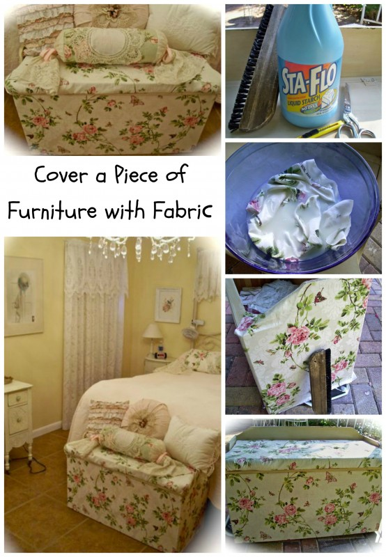 Ordinaire Shabby Chich Trunk Makeover Starching Fabric To Wood