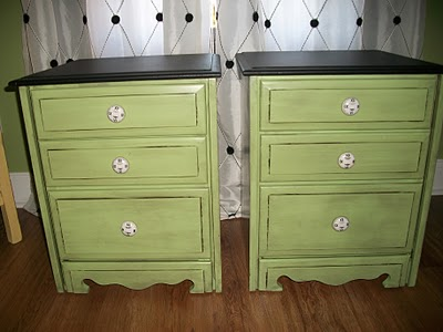 end tables painted green