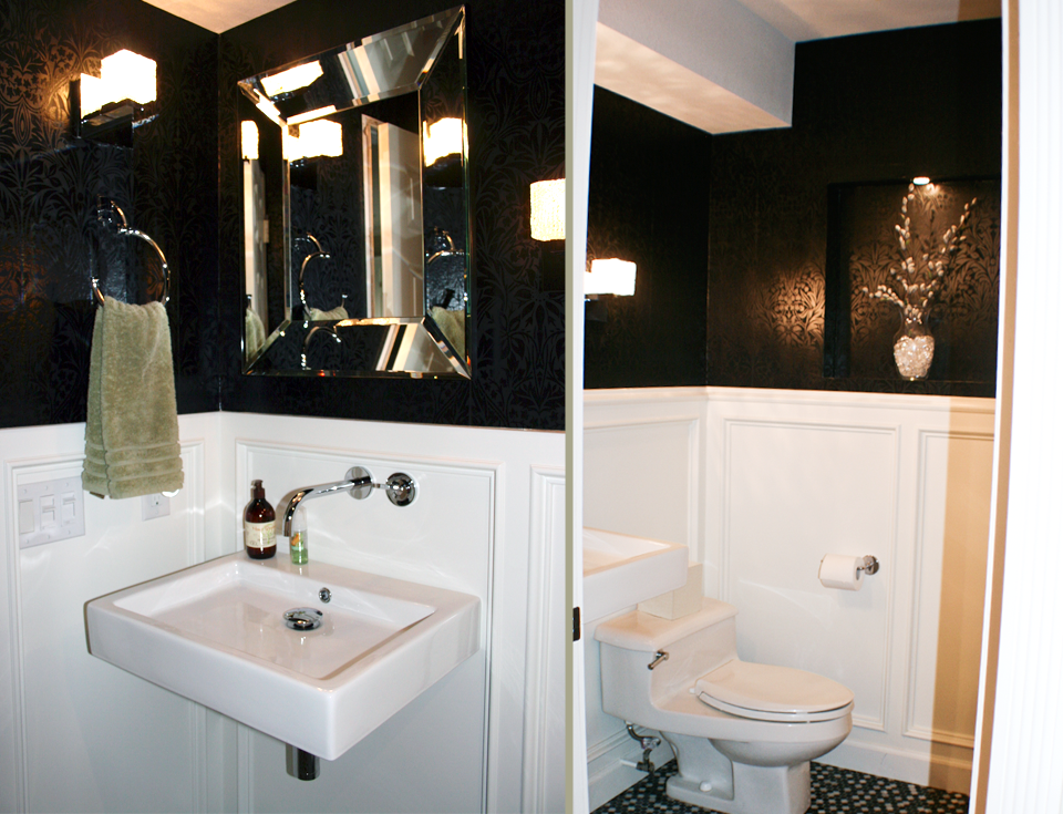 Powder Room With Black And White Walls