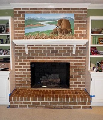 Faux Painted Brick Over White Fireplace