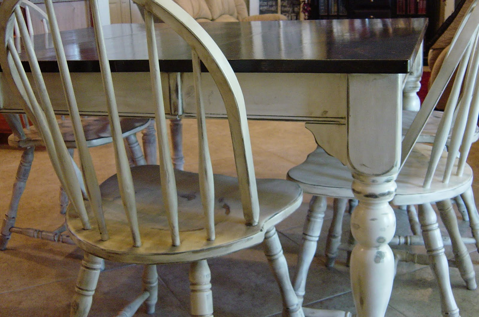 Remodelaholic Kitchen Table Refinished With Distressed Look - Distressed dark wood dining table