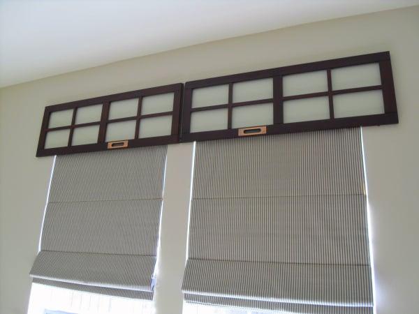 CD Storage Cabinet Doors Above Window Treatment