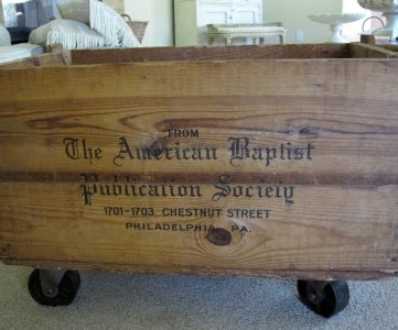wooden antique crate with casters