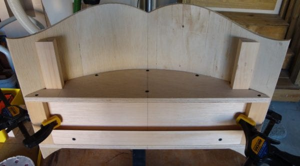 30 Wooden curved cornice box canopy top Tutorial by DeCarlo Woodworks featured on @Remodelaholic