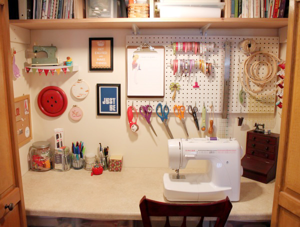 Remodelaholic Sewing Closet Revamp Using Every Inch Wisely